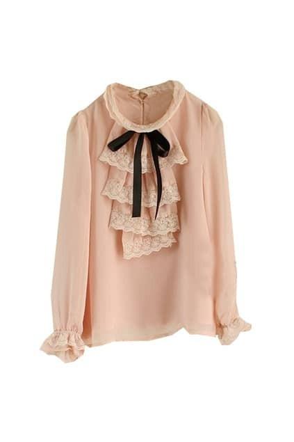 Aulic Bowknot Pink Shirt