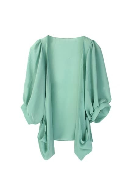 Excellent Puff Sleeve Chiffon Green Cardigan