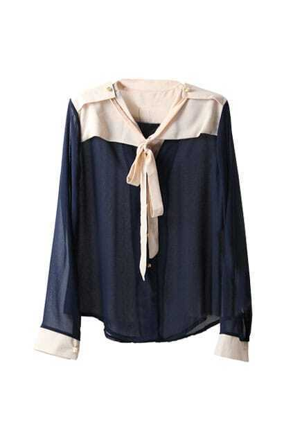 Chiffon Montage Fitted Bowknot Navy-blue Shirt