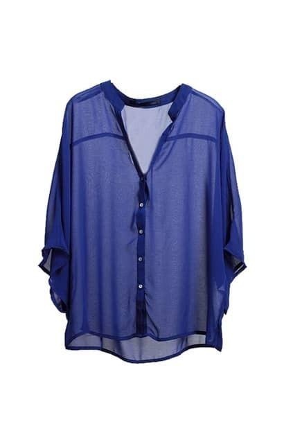 Band Collars Royal Blue Loose Shirt