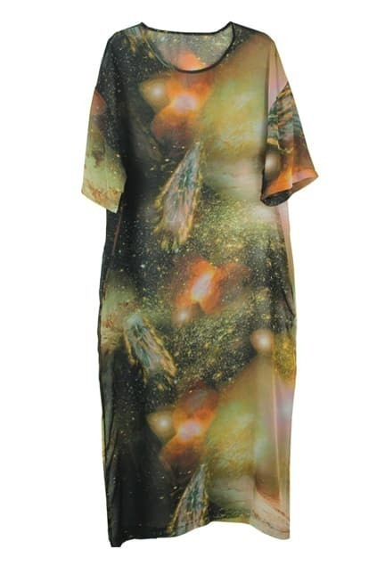 Stars Printed Orange Long Dress