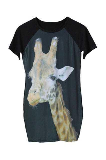 Elasticated Giraffe Printed Dress