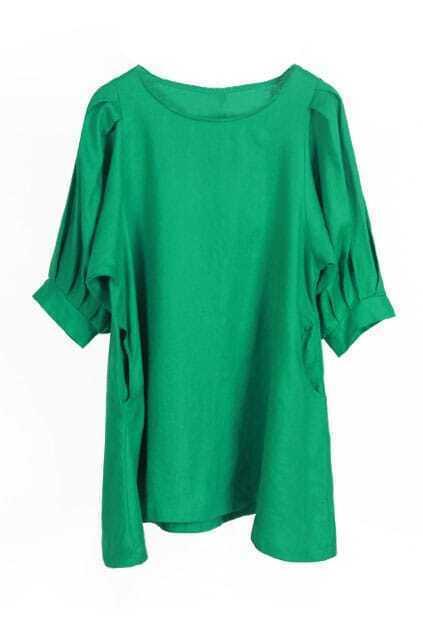 Retro Puff Sleeves Green Shift Dress