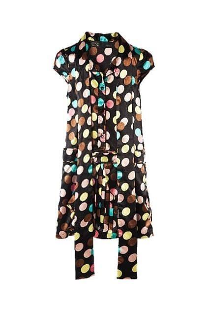 Multicolored Dots Print Shift Dress