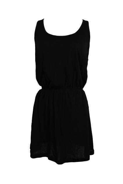Back Cross Gauze Hollow Black Dress