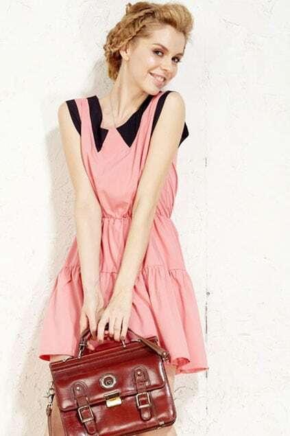 Fake Collar Sleeveless Pink Dress