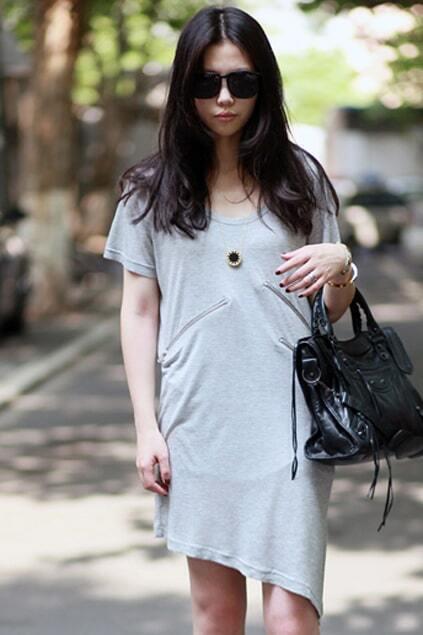 Asymmetric Hems Grey T-shirt Dress
