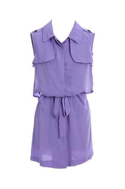 Ruffled Purple Chiffon Shift Dress