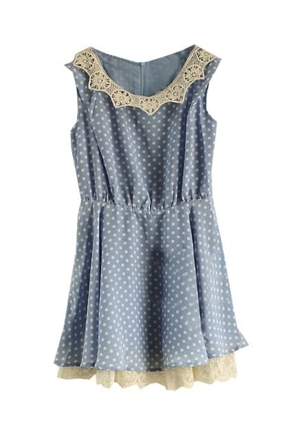 Antique Dots Blue Short Shift Dress