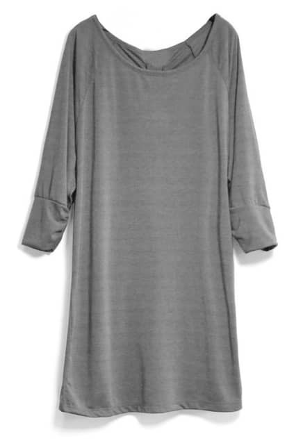Middle-length Sleeves Loose Grey Dress