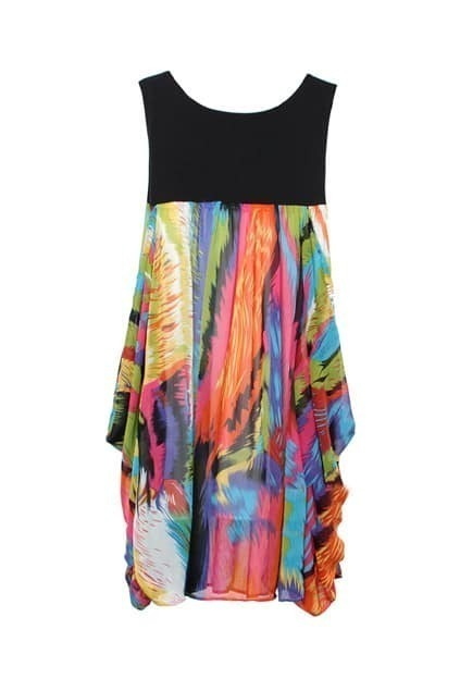 Montaged Style Colorful Tank Dress