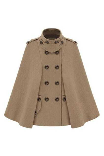 Navy Style Double-breasted Camel Cape