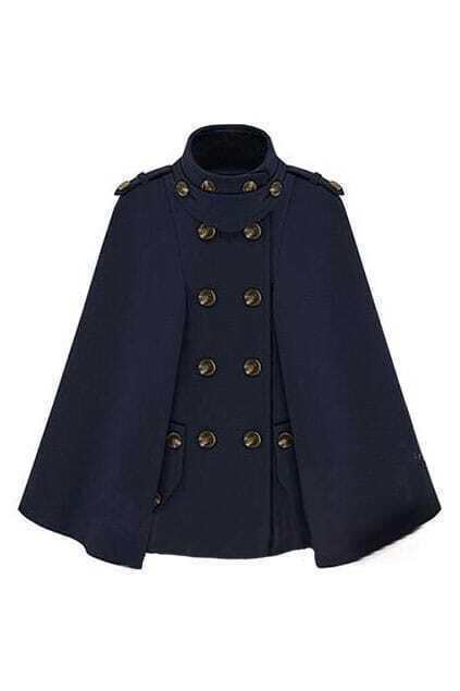 Navy Style Double-breasted Dark-blue Cape