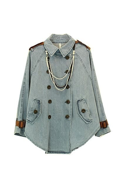 Fitted Epaulette Double-breasted Blue Cape