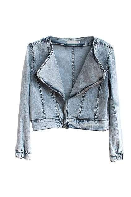 Oblique Zip Rinse Blue Jacket