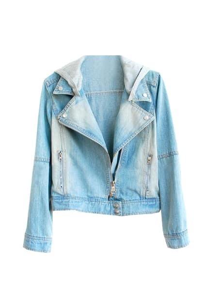 Oblique Zip Light-blue Denim Hoodie