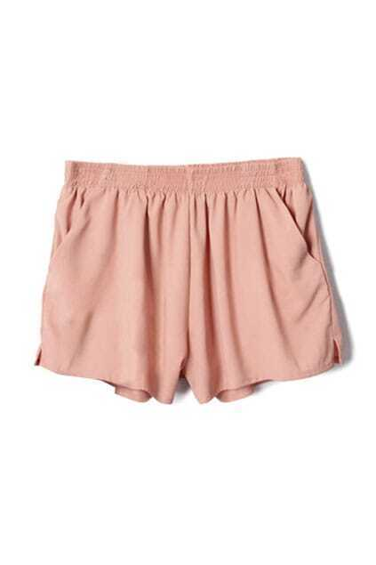 High-waist Elasticated Fitted Pockets Pink Shorts