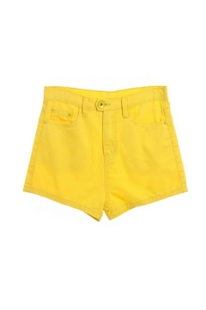 Candy Yellow High Waist Short Pants