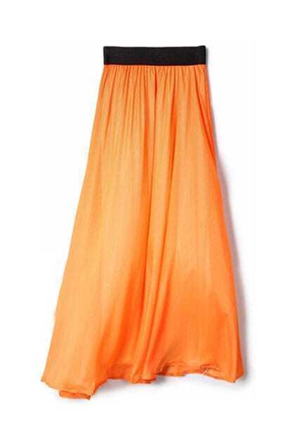 Smooth Elasticated Light Orange Long Skirt