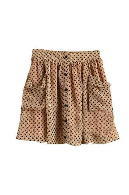 Retro Pocket Chiffon Khaki Skirt