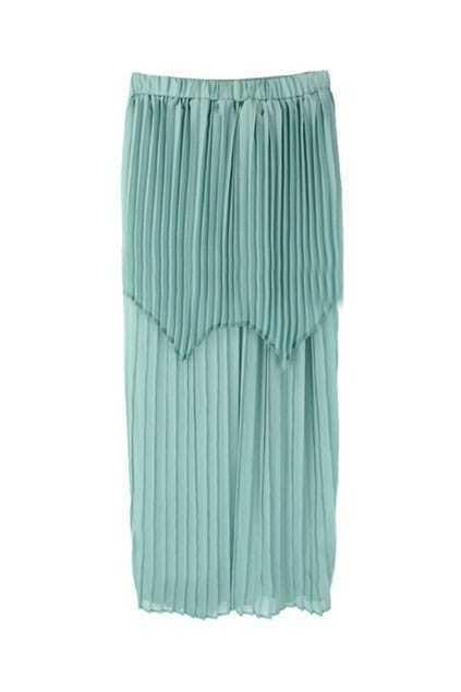 Elasticated Waist Wild Pleating Light-green Skirt