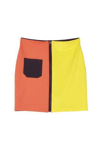 High Waist Montaged Colorful Skirt