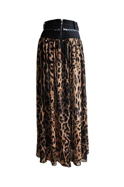 Leopard Printed Fitted Zips Maxi Skirt