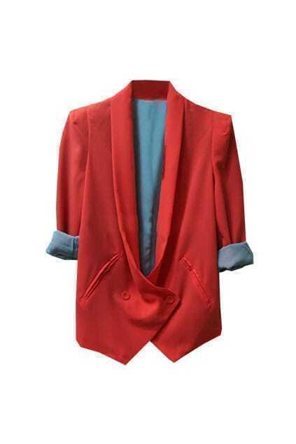 Feminine Shoulder Pads Orange Blazer