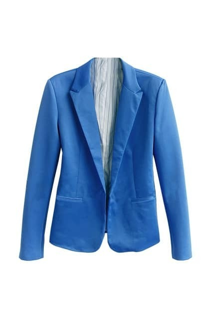 Lapel One Button Blue Blazer