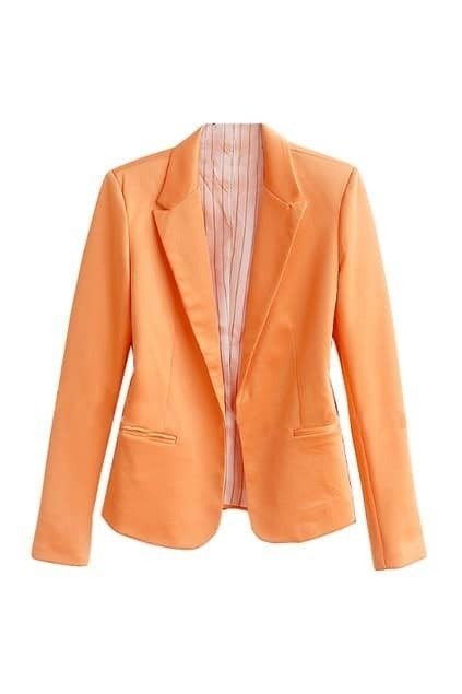 Lapel One Button Orange Blazer