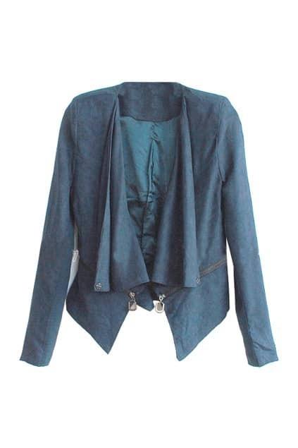 Fitted Shoulder-pads Hasp Design Navy-blue Blazer