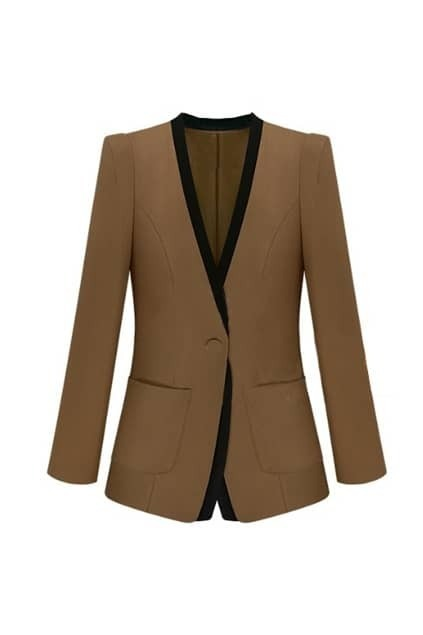 Collarless Montage Fitted Pockets Brown Blazer