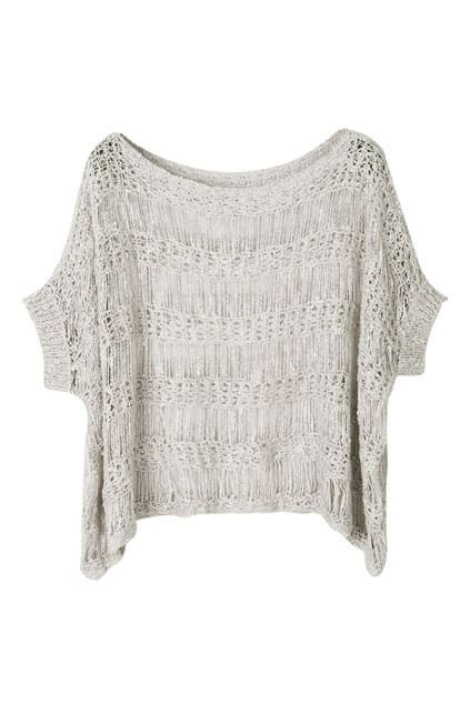 Hollowed Bat-wing Light-grey Knitted Sweater