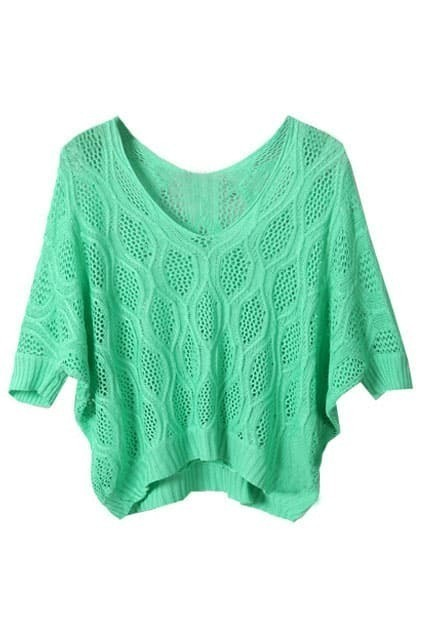 Simple Pierced V-neck Green Knitted Shirt