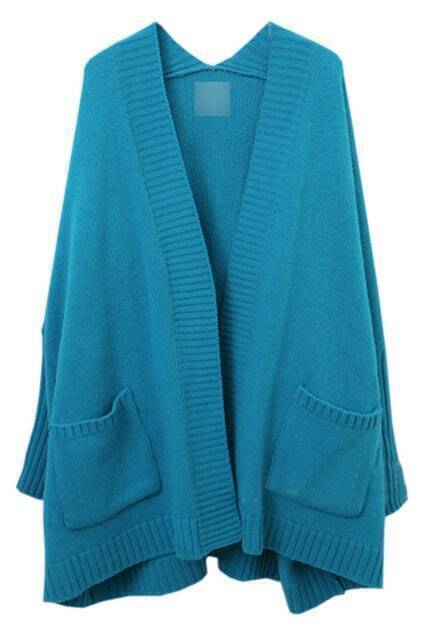 Batwing Sleeves Caped Blue Cardigan