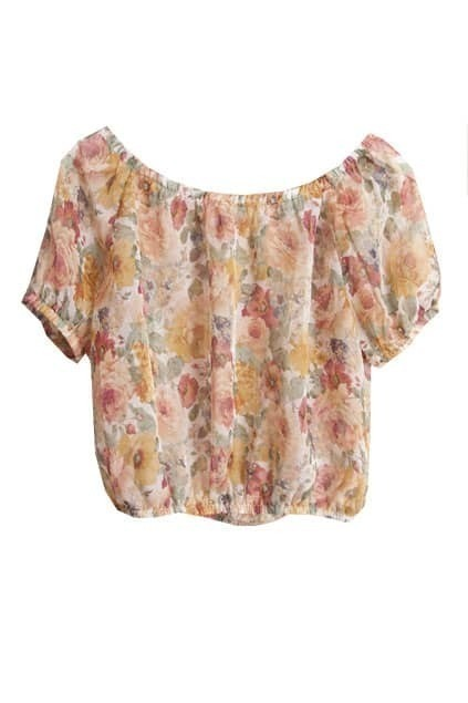 Floral Print Short Sleeves Chiffon Top
