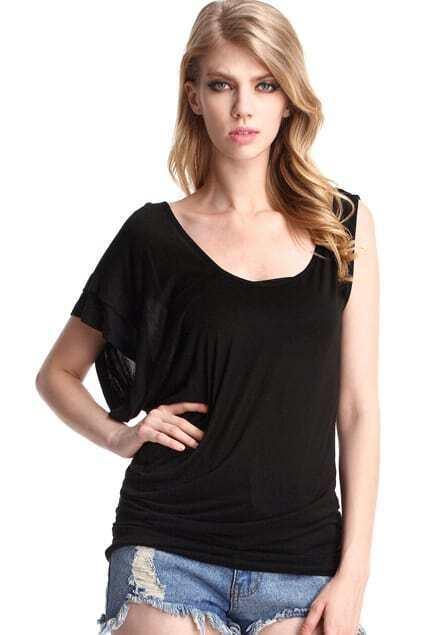Asymmetric Black T-shirt