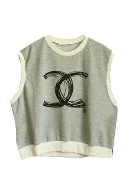 Drawing Double-C Printed Grey T-shirt