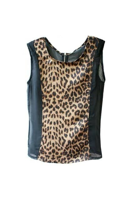 Leopard Chiffon Montage Sleeveless Black T-shirt
