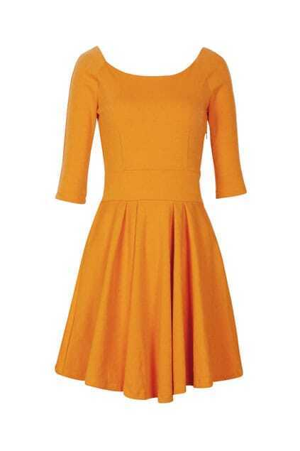 Retro Pleated Style Ginger Shift Dress