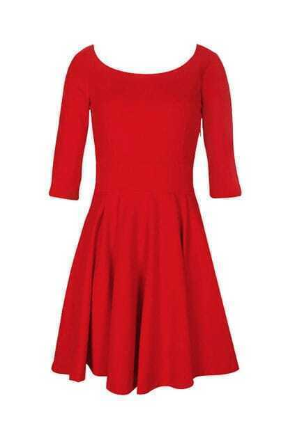 Retro Pleated Style Red Shift Dress