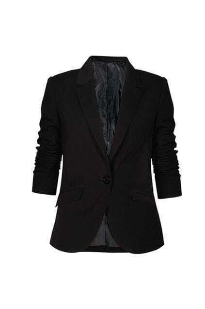 Retro Pleating One Buckle Black Blazer