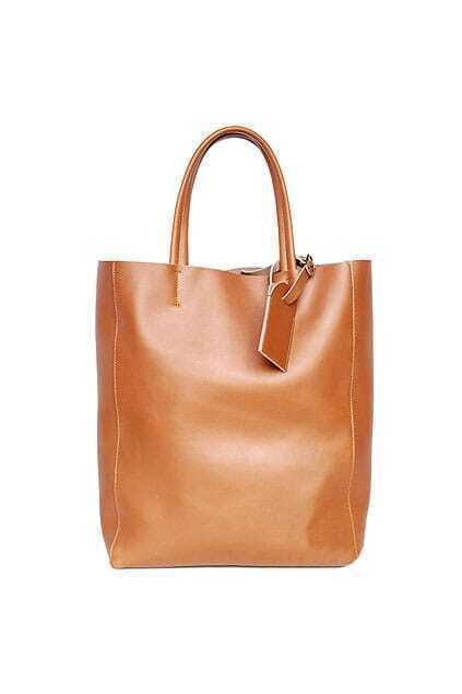 Retro Simple Fitted Zip Yellow-brown Handbag
