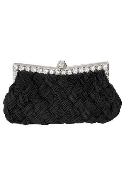 Jewel Studded Black Wowen Clutch