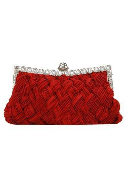 Jewel Studded Red Wowen Clutch
