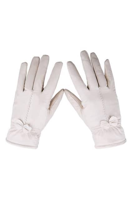 Feminine Bowknot Sheepskin Cream Gloves
