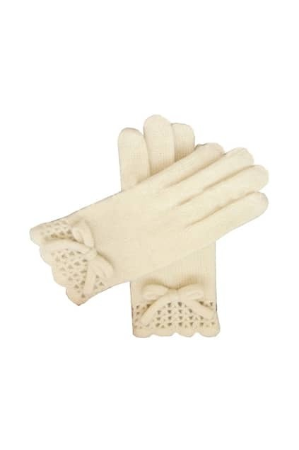 Knitted Bowknot Cream Gloves