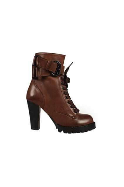 Retro Wild Wedge High-heel Red-brown Ankle-boot