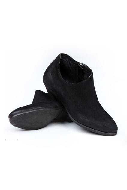 Zip Side Black Short Boots