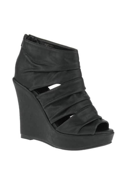 Pleated Peep Toes Black Ankle Boots